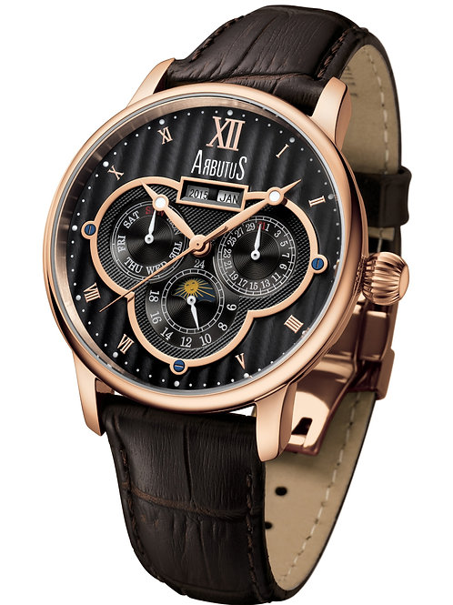 ARBUTUS Calender Automatic AR905RBF, Year+Month/Moon Phase/Date+Day/24Hr, Brown Leather Strap, Stainless Steel w Rosegold PT