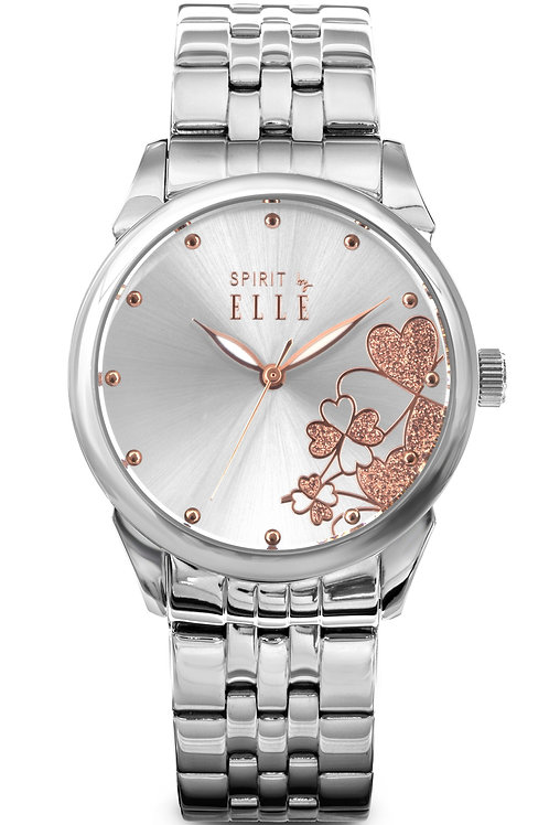 Elle sunray dial with rose gold embellishment and steel bracelet ES20054B02X front view