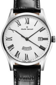 Claude Bernard Classic Day Date White Silver Black CB84200-3-BR front view