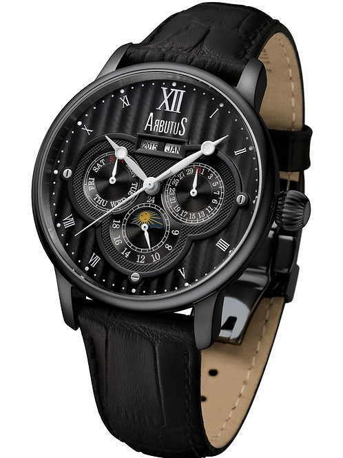 ARBUTUS Calendar Automatic AR905RBF, Year+Month/Moon Phase/Day/Date/24Hr, Black Leather Strap, Stainless Steel Black Plating