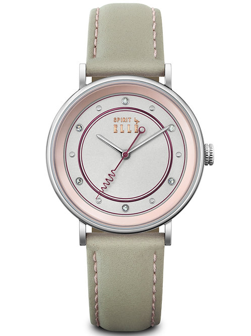 Elle steel case stone dial and grey strap ES20139S03X front view