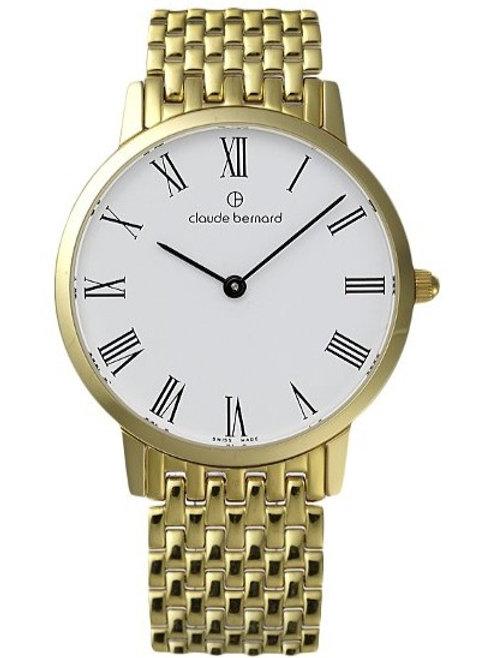 Claude Bernard Classic White|Gold|Gold/Silver CB20206-37JM-BR front view