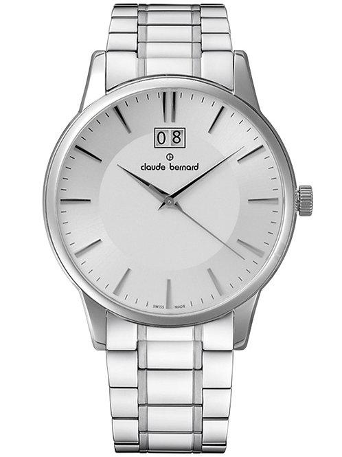 Claude Bernard Classic Big Date Silver|Silver|Silver CB63003-3M2-AIN front view