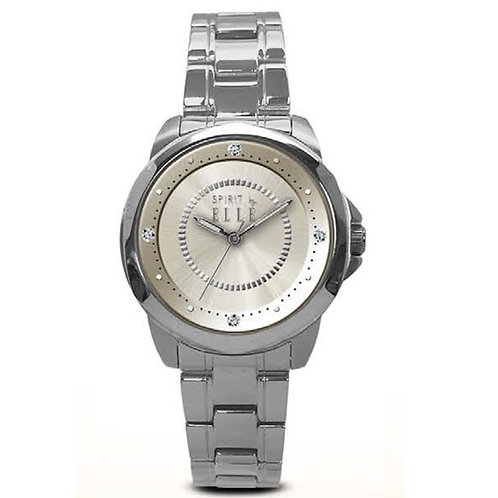 ELLE champagne sunray dial with bracelet ES20038B03X front view