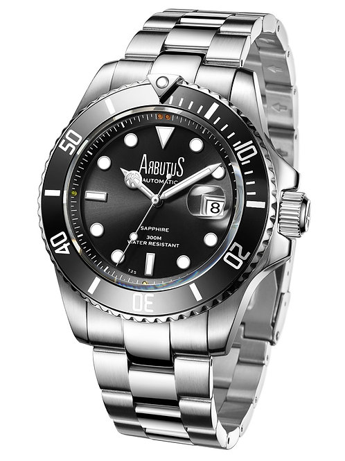 ARBUTUS Dive Automatic AR1907SBS, Front View, Black Sunray Dial with Gas-Tube Indices, Black Uni-Directional Rotating Bezel