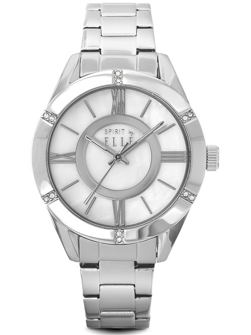 ELLE stainless steel bracelet and mother of pearl dial ES20039B05X front view