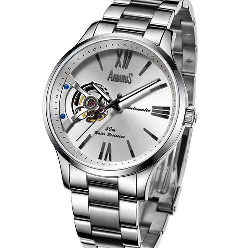 ARBUTUS Open Heart AR1807SWS, Front View, Stainless Steel, White Dial with Indices, Stainless Steel Bracelet