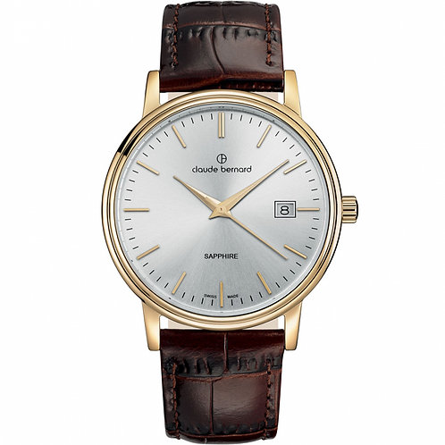Claude Bernard Classic Gents White|Yellow|Brown CB53007-37J-AID front view
