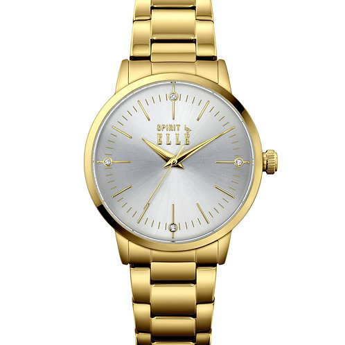 Elle IP Gold case, Silver White Sunray with Stone dial, IP Gold bracelet ES20147 front view