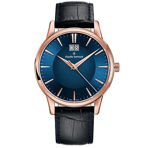 Claude Bernard Classic Big Date Blue|Pink|Black CB63003-37R-BUIR front view