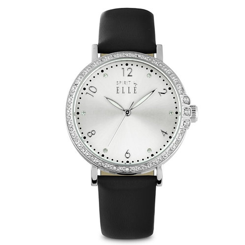 Elle steel stone case sunray dial with stones with black leather strap ES20080S0 front view