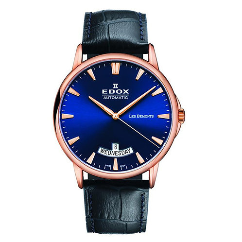 Edox les Bemont Automatic Day and Date ed83015-37R-BUIR front view