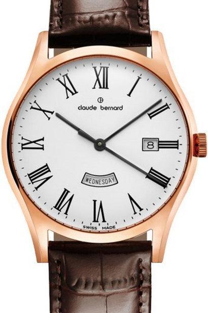 Claude Bernard Classic Day Date White|Pink|Brown CB84200-37R-BR