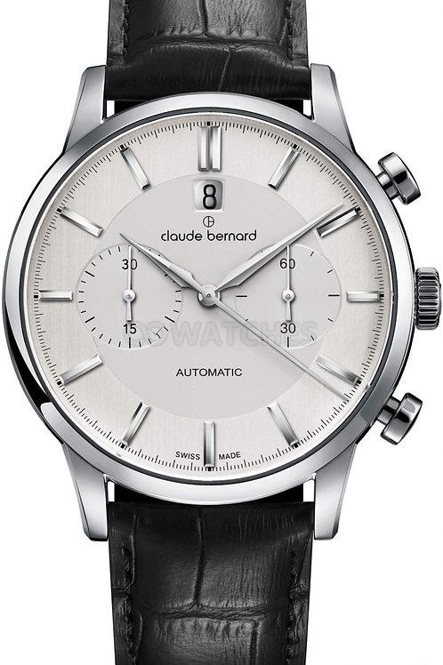 Claude Bernard Classic Chronograph Automatic Silver|Silver|Black CB08001-3-AIN front view