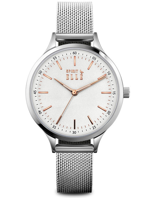 ELLE white dial with rose gold index and stainless steel mesh band ES20132B01X front view