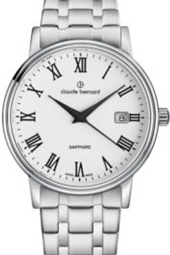 Claude Bernard Classic Gents/Ladies White|Silver|Silver CB53007-3M-BR front view