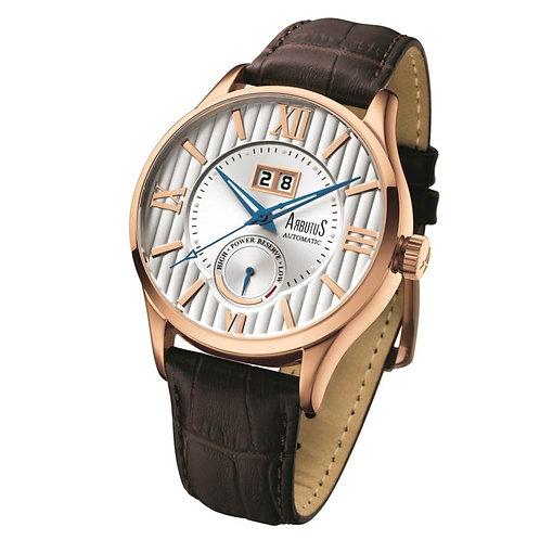 ARBUTUS Exclusive Power Reserve AR915RWF, Power Reserve Indicator, Date Display, Rosegold Plating, Brown Leather Strap