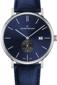 Claude Bernard Slim Line Small Second Blue|Silver|Blue CB65004-3-BUING front view