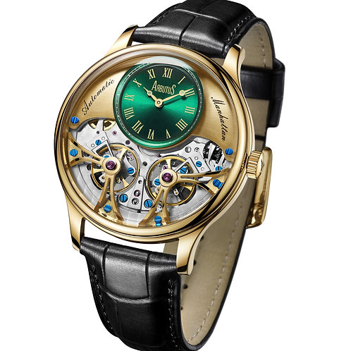 ARBUTUS Double Balance Wheel AR1903GGB, Front View, Gold Dial with Green Mini Dial, Black Leather Strap