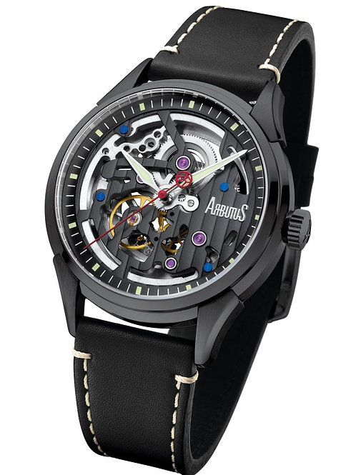 ARBUTUS Skeleton Automatic AR1801BBB, Front View, Black Dial, Stainless Steel with Black Plating, Brown Leather Strap