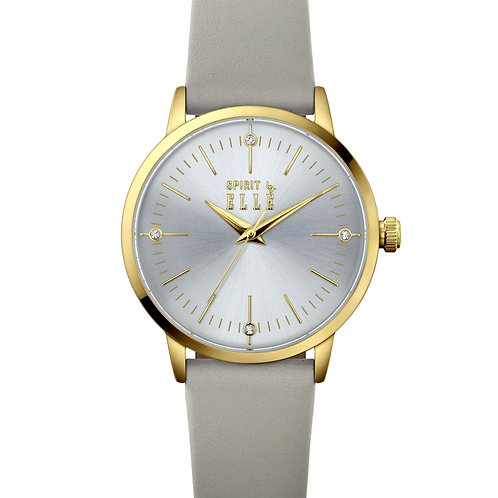 Elle IP Gold case, Light grey with Stone dial, Grey strap ES20147S03X