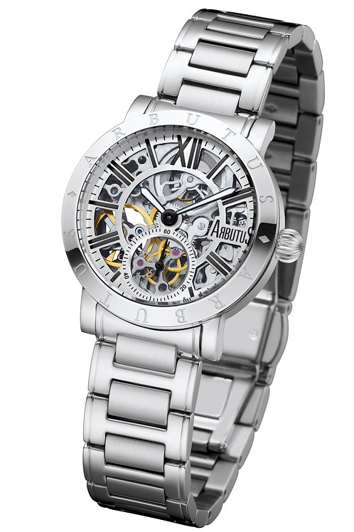 ARBUTUS Ladies Skeleton AR1720SWS, Front View, Stainless Steel, Silver Dial with Incides, Stainless Steel Bracelet