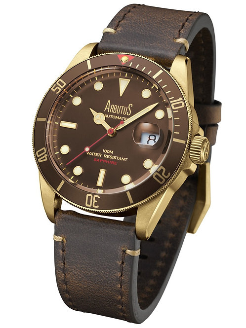 ARBUTUS Bronze ARBR01GFF, Front View, Bronze with Brown Unidirectional Rotating Bezel, Brown Dial, Brown Leather Strap