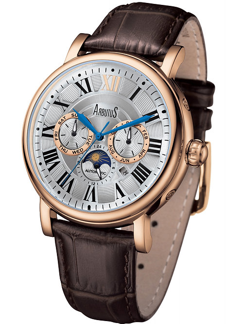 ARBUTUS Classic Multi-Function AR912RWF, White Dial, Stainless Steel Rosegold PT, Brown Leather Stp, Month/Day/Moon Indicator