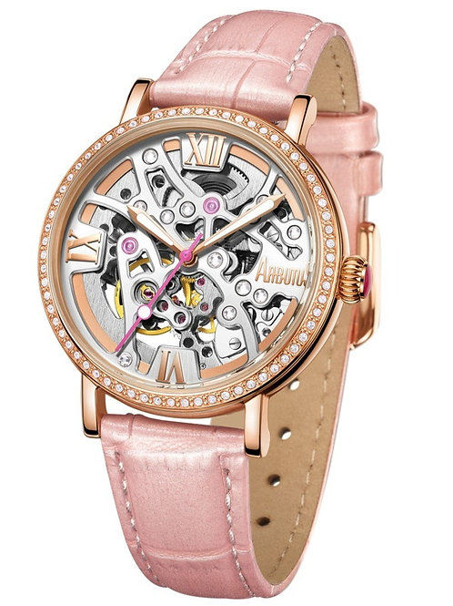 ARBUTUS Ladies Skeleton AR1906RWP, Front View, Silver White Sunray Dial, Stainless St in IP Rosegold Platting, Pink Leather