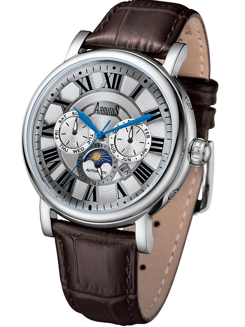 ARBUTUS Classic Multi-Function AR912SNF, Stainless Steel w Rosegold PT, Brown Strap, Gray Dial, Month/Date/Moon Indicator