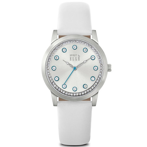 Elle sunray dial with blue indexes and white leather strap ES20100S01 front view