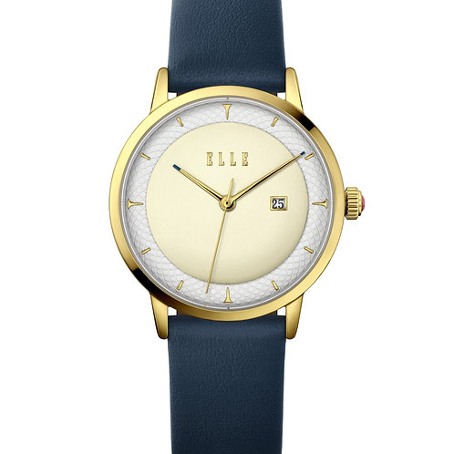 Elle IP Gold case, Embossed Silver White / Light Champagne, Navy strap EL20458S0 front view