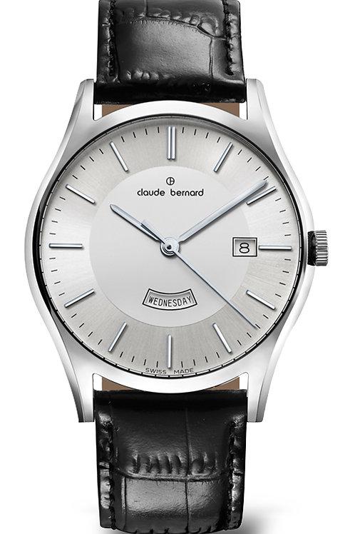 Claude Bernard Classic Day Date Silver|Silver|Black CB84200-3-AIN