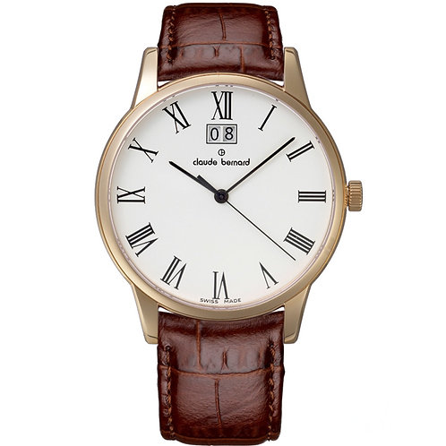 Claude Bernard Classic Big Date White|Yellow|Brown CB63003-37R-BR front view