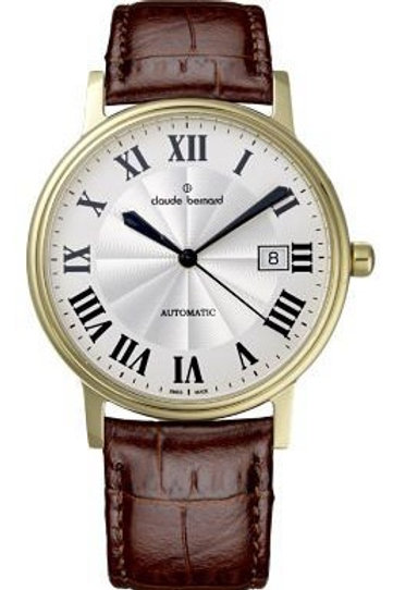 Claude Bernard Classic Automatic Date Silver|Yellow|Brown CB80084-37J-AR front view