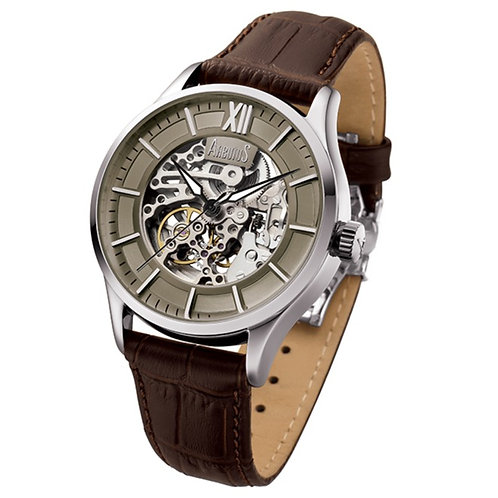 ARBUTUS Rotary Skeleton AR901SFF, Gun Dial with Skeleton Look Dial, Brown Leather Strap, Stainless Steel, 44mm, 40hrs Power R