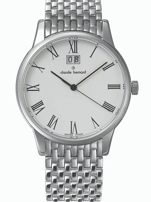 Claude Bernard Classic Big Date White|Silver|Silver CB63003-3M-BR