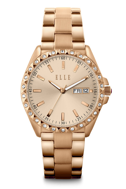 Elle steel case with stone, sunray silver dial with stone, white strap EL20460S0 front view