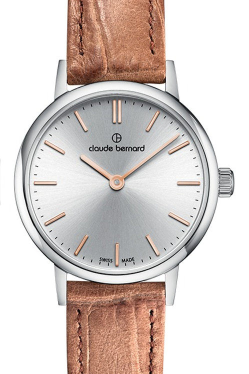 Claude Bernard Classic Two Hands Silver|Silver|Brown CB20215-3-AIR front view