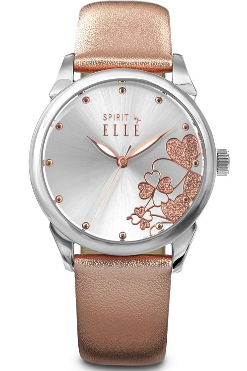 Elle steel case sunray dial with patterns and rose gold leather