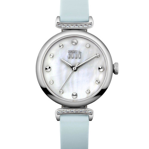 Elle steel case with stone, mother of pearl dial, blue strap ES21027S02X