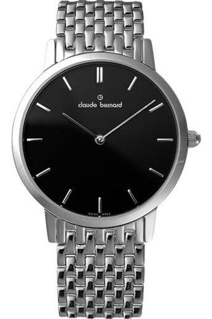 Claude Bernard Classic Black|Silver|Silver CB20061-3M-NIN front view