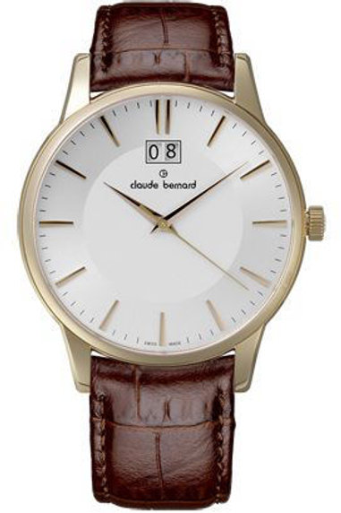 Claude Bernard Classic Big Date Silver|Yellow|Brown CB63003-37R-AIR front view