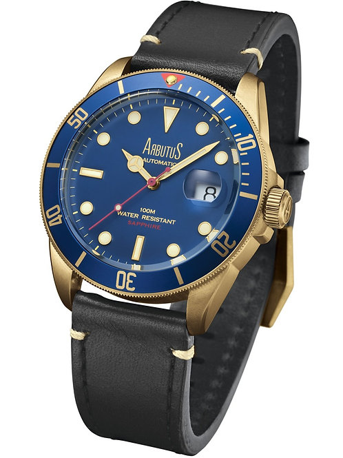 ARBUTUS Bronze ARBR01GUB, Front View, Bronze with Unidirectional Rotating Bezel, Black Leather Strap, Swiss Movement