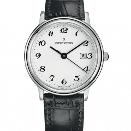 Claude Bernard Classic Gents/Ladies White|Silver|Black CB54005-3-BB