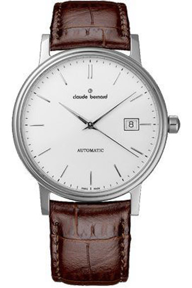 Claude Bernard Classic Automatic Date Silver|Silver|Brown CB80084-3-AIN front view