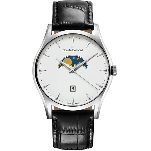 Claude Bernard Classic Gents Moonphase White|Silver|Black CB79010-3-BIN front view