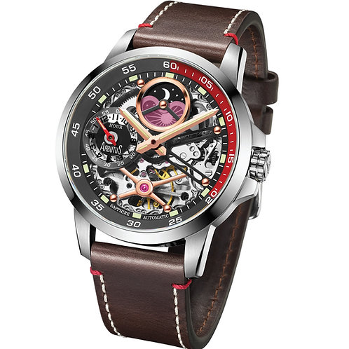 ARBUTUS Dual Time Skeleton AR1905SBF, Front View, Black Dial, Dual Time/Moon Phase, Brown Leather Strap