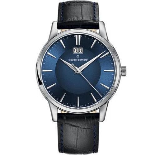 Claude Bernard Classic Big Date Blue|Silver|Black CB63003-3-BUIN