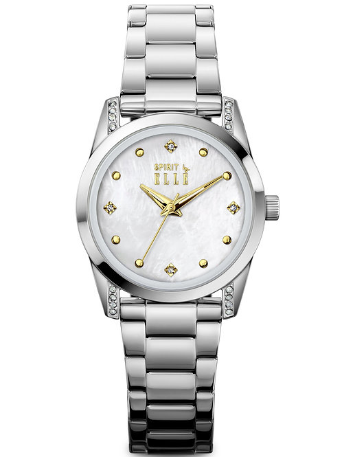 Elle Steel case with Stone White MOP with Stone dial and bracelet ES20143B05X front view